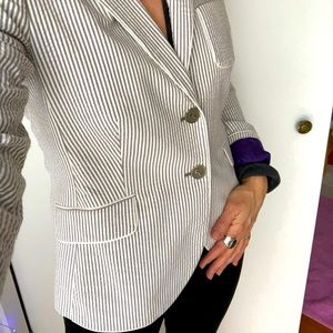 Mexx seersucker grey-taupe pinstripe blazer jacket